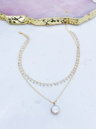Layered Pressed Coin Pearl Necklace