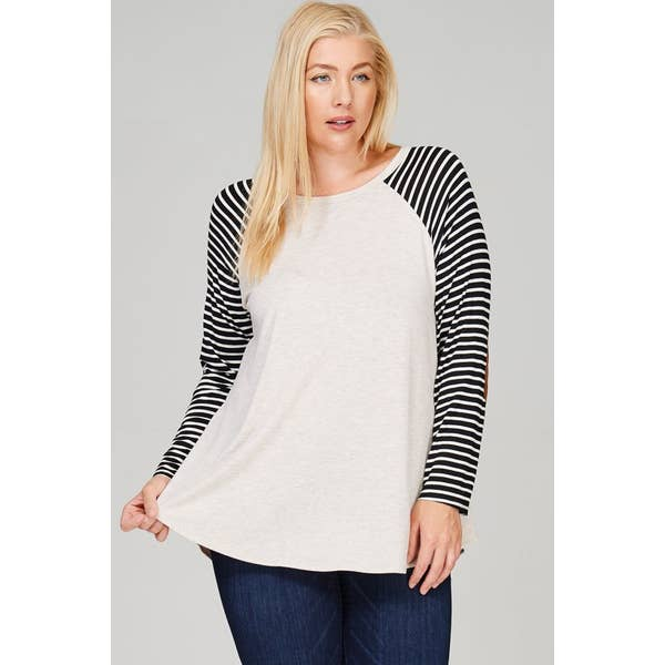 Let's Be Comfy Long Sleeve Striped Top in Oatmeal PLUS