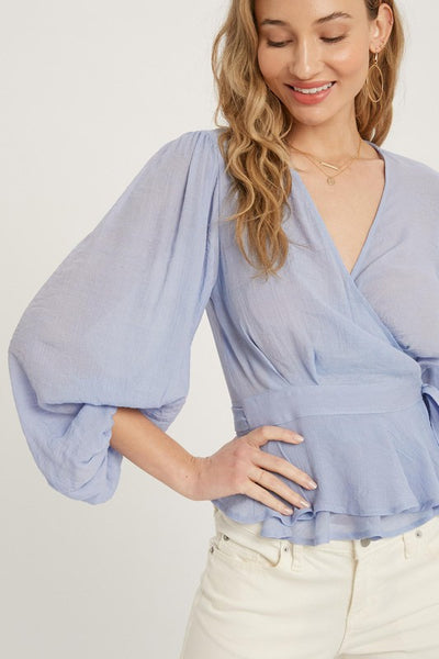 Mary Kate Wrap Blouse in Chambray