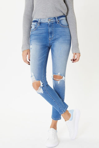 KanCan Light Wash Distressed High-Rise Ankle Skinny