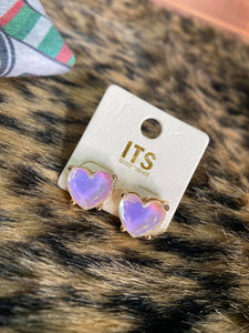 Irridiscent Heart Earrings