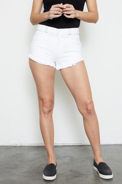 KanCan White High Rise Distressed Shorts