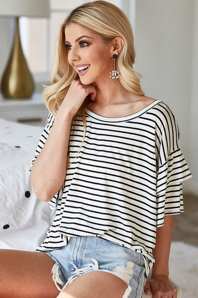 The Hamptons Striped Ruffle Sleeve Top