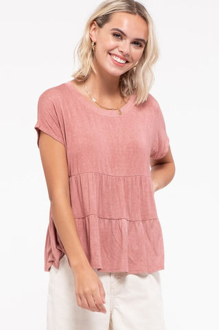 Dusty Rose Tiered Knit Top