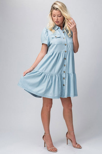 Chambray Tiered Button Dress