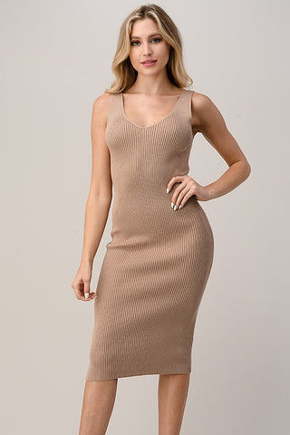 Wanderlust Midi Ribbed Dress in Taupe