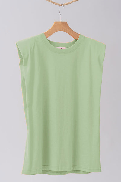 Padded Shoulder Muscle Tee in Sage
