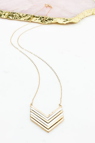 Layered Multi Metal Chevron Necklace