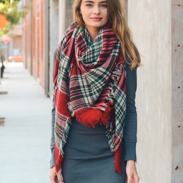 Classic Plaid Blanket Scarf in Red & Green