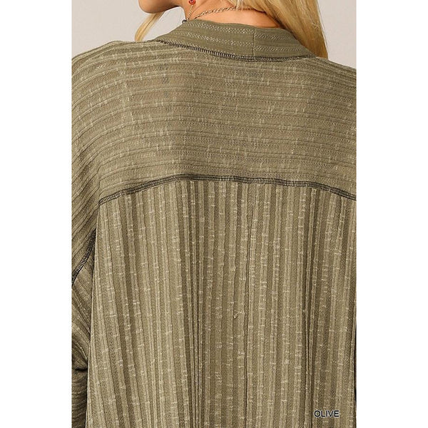 Long Sleeve Henley Tunic in Olive