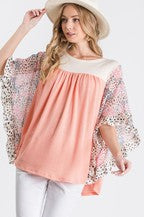 Perfect Dolman Top with Animal Print Sleeves
