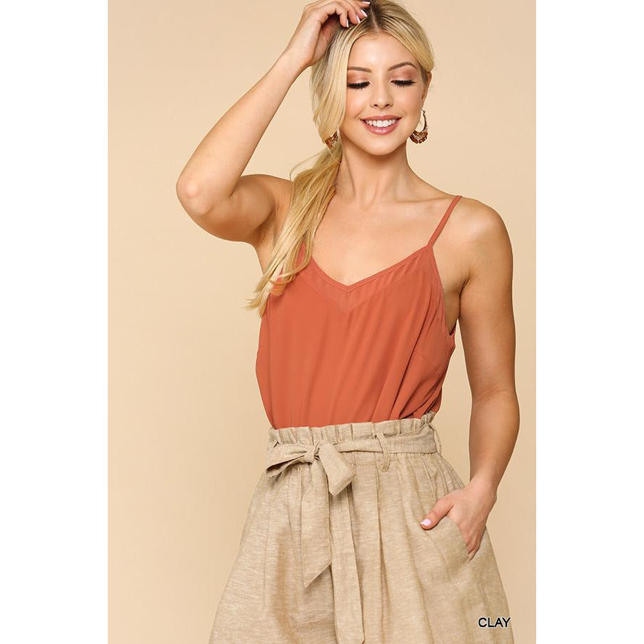 The Perfect V Neck Camisole in Clay