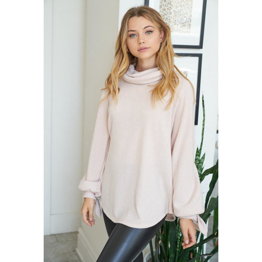 Puff Sleeves Solid Knit Sweater in Beige