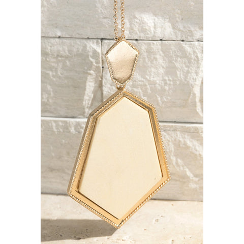 Ivory Faux Wood Necklace