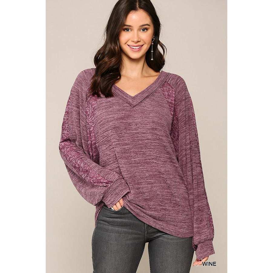 Burnout Long Sleeve V-Neck Tee in Wine