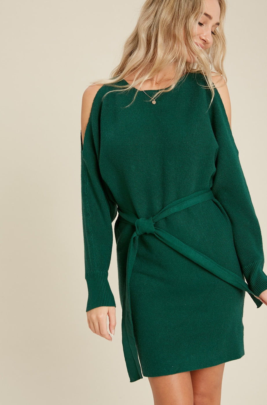 Open Shoulder Dolman Sweater Dress