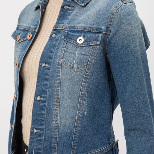 Vintage Distressed Cropped Cotton Denim Jacket