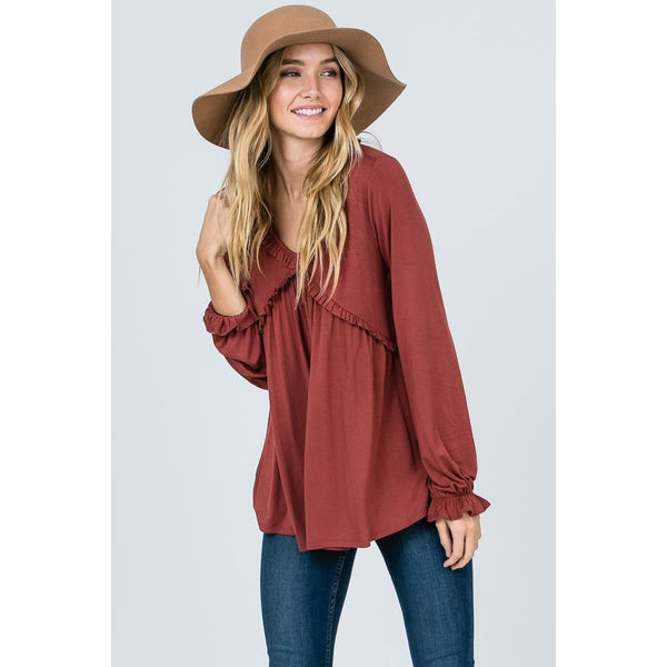 Queen of Marsala Peasant Top