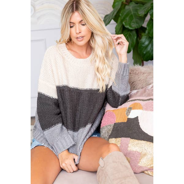 Cuddle Me Color Block Sweater in Black and Grey