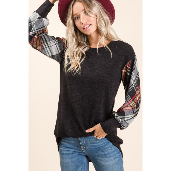Plaid Sleeve Tunic in Black