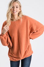 Chevron Rib Dolman Orange Top