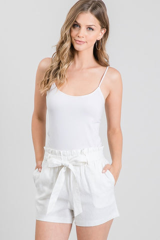 Linen Paper Bag Shorts in Ivory