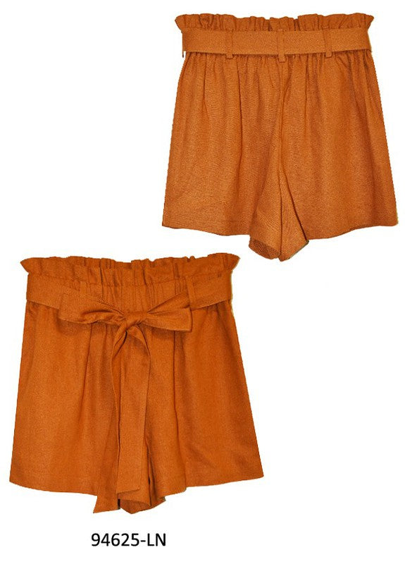 Linen Paper Bag Shorts in Camel