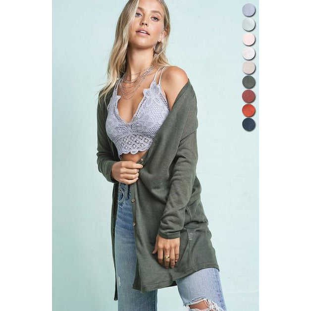 Button Down Long Sleeve Cardigan Olive