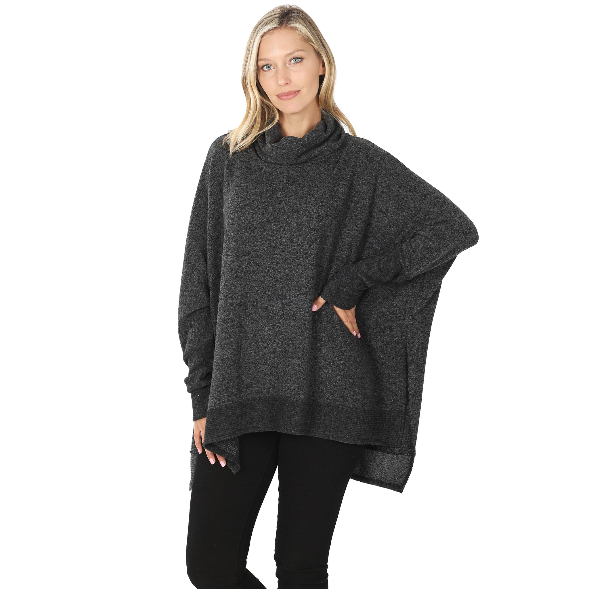 Cowl Neck Oversized High-Low Sweater in Black