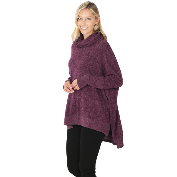 Cowl Neck Oversized High-Low Sweater in Dark Burgundy