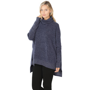 Cowl Neck Oversized High-Low Sweater in Navy