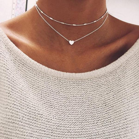 Girls and Ladies Happy Heart Layered Necklace