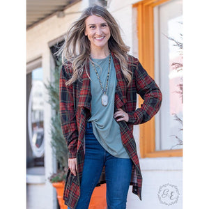 Harvest Moon Rust & Olive Plaid Cardigan