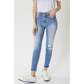 KanCan High Rise Hem Detail Ankle Skinny