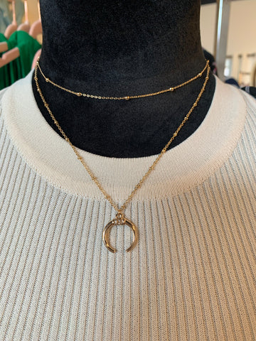 Layered Ball and Chain with Horn Cresent Necklace