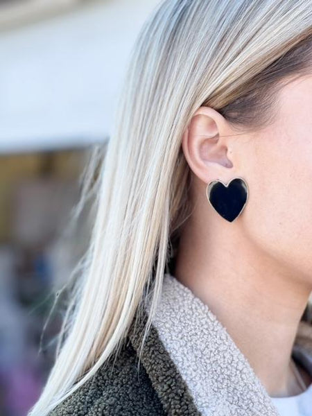 Full Heart Earrings in Black