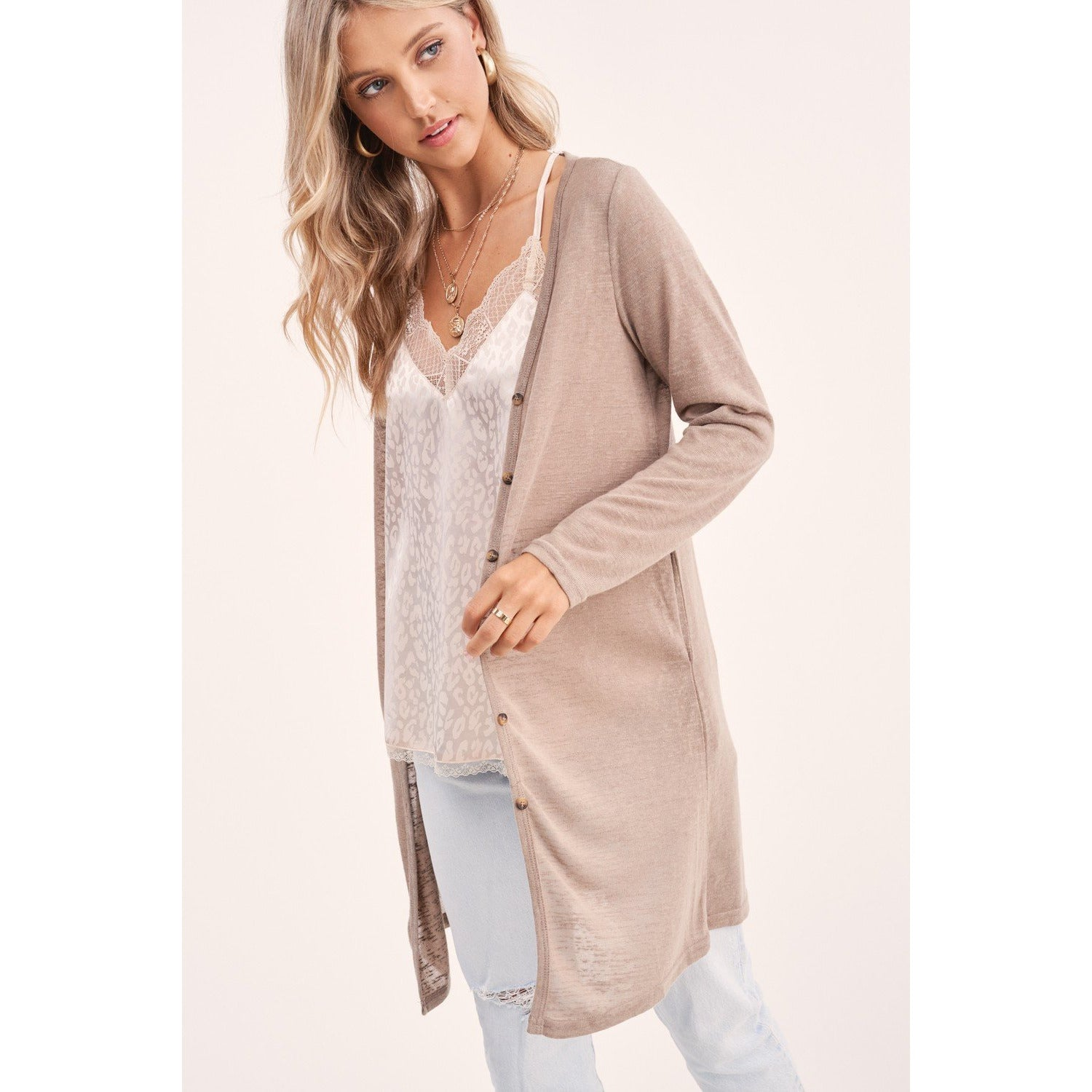 Button Down Long Sleeve Cardigan Taupe