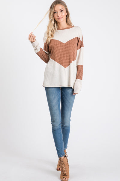 Waffle Brown and Cream Long Sleeve Top