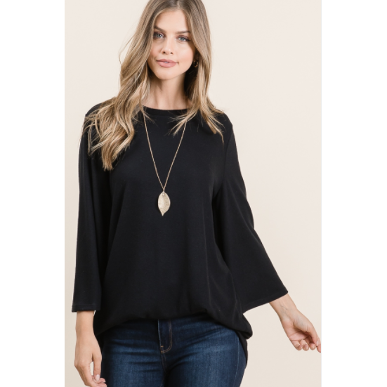 Cashmere Bell Sleeve Tunic in Black