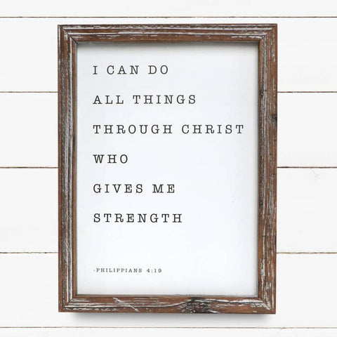 I Can Do All Things Through Christ Wood Sign