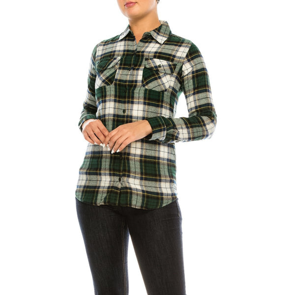 Fall in Love Flannel in Green & White