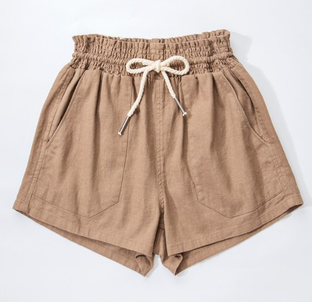 Drawstring Linen Shorts in Camel
