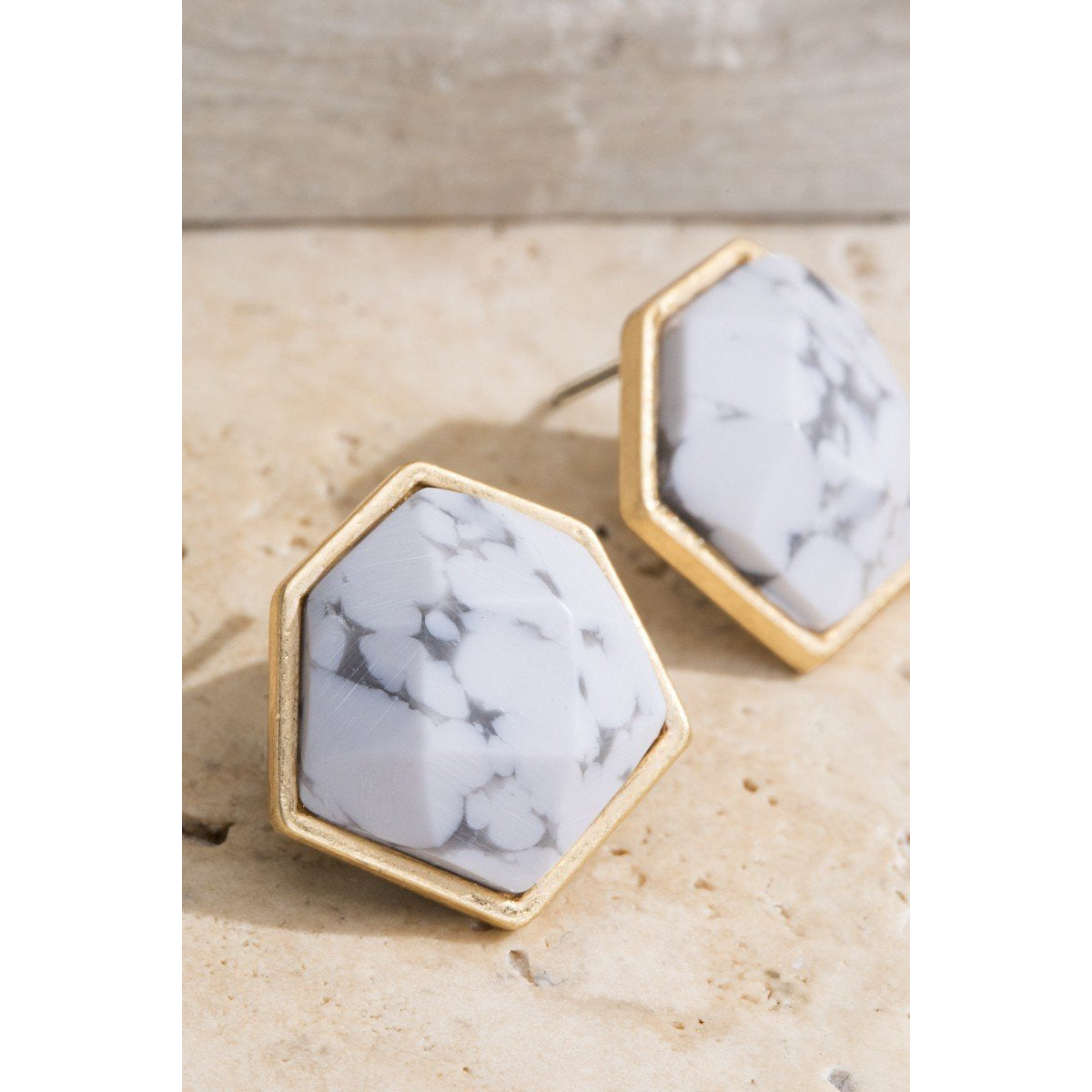 White Marble Stone Hexagon Earrings