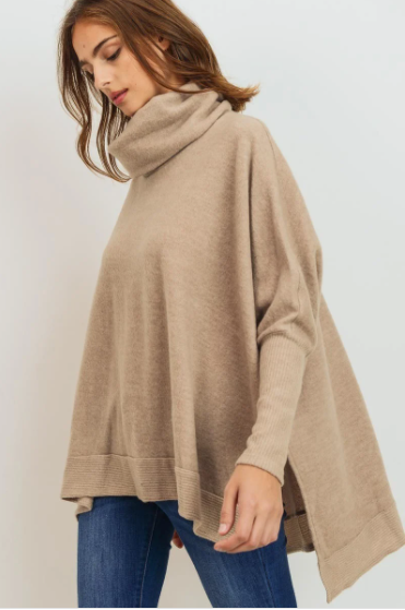 Cowl Neck Oversized High-Low Sweater in Taupe