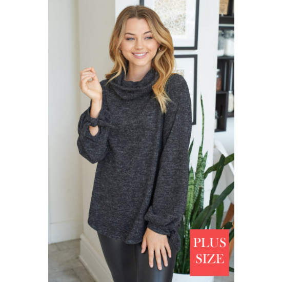 Curvy Puff Sleeves Solid Knit Top in Charcoal