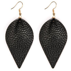 Leather Earrings in Black
