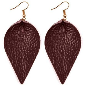 Leather Earrings in Burgundy