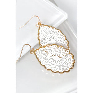 White Filgree Earrings