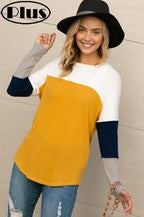 Brushed Hacci Color Block Plus Top in Mustard
