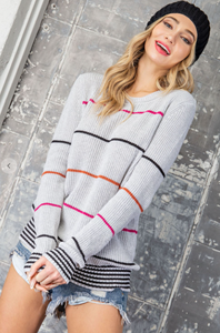 Ribbed Sweater with Stripes in Heather Grey